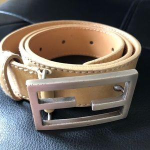 FENDI Leather Belt with FF Logo Buckle, Chamois